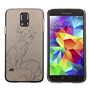 LECELL--Funda protectora / Cubierta / Piel For Samsung Galaxy S5 SM-G900 -- Sketch Boy Profile Art Portrait Drawing Pencil --
