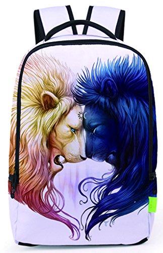 Pizoff Doulbe Mesh Padded Adjustable Shoulder Straps Cute Contrast Lion Print Zipper School Bookbags Rucksack Travel Laptop Backpacks Boys Girls Y1799-58