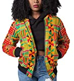 Generic Women's Casual Africa Dashiki Print Bomber Jackets Coat Yellow M