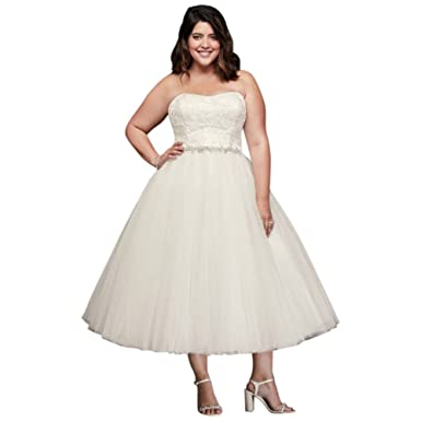 Appliqued Tulle Tea-Length Plus Size Wedding Dress Style ...