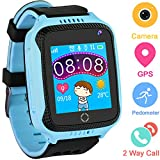 Kids Smartwatches for Boys Girls - GPS Fitness Tracker Watch for Children with Games Phone SOS Alarm Clock Camera Children Gifts Control by Parents Compatible with iPhone/Android (01 GM11 Blue GPS)