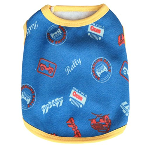 Veste Costumes (Puppy Car Print Sleep Shirt, Howstar Yorkie Warm Pajamas Dog Outfit Yorki Veste (L, Blue))