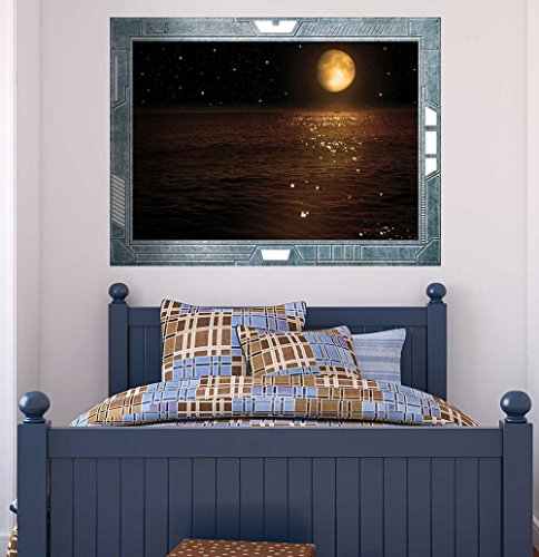 Science Fiction ViewPort Decal Peering at the Moon Hovering Over Calm Waters Wall Mural
