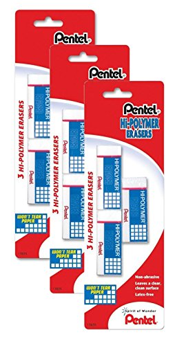 Pentel Hi-Polymer Block Eraser, Small, Pack of 9