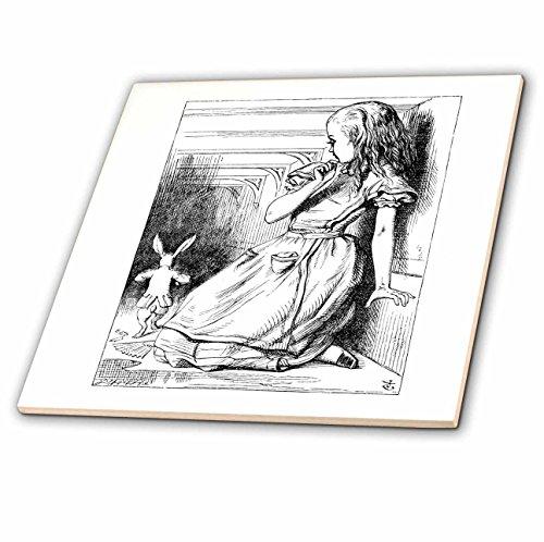 3dRose ct_193789_2 Follow The White Rabbit. Alice in Wonderland John Tenniel Illustration Ceramic Tile, 6