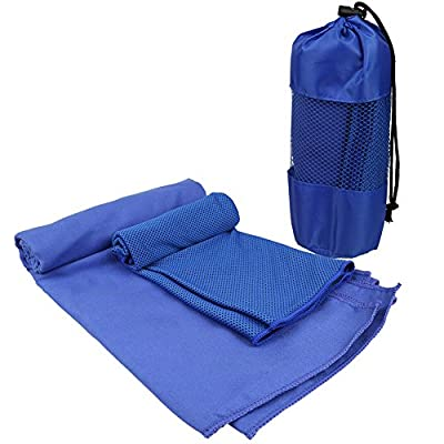 """2 Pack Microfiber Travel Sports Towel(32"""" x 51"""") + Cooling Towel(16"""" x 32""""), Lightweight & Compact Quick Dry for Fitness, Hiking, Yoga, Beach, Travel, Sports, Backpacking & The Gym"""