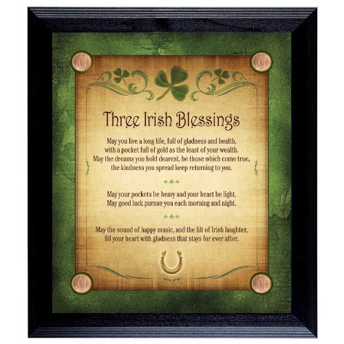 American Coin Treasures Three Irish Blessings with 4 Lucky Irish Pennies Wall Frame (Irish Penny Harp)