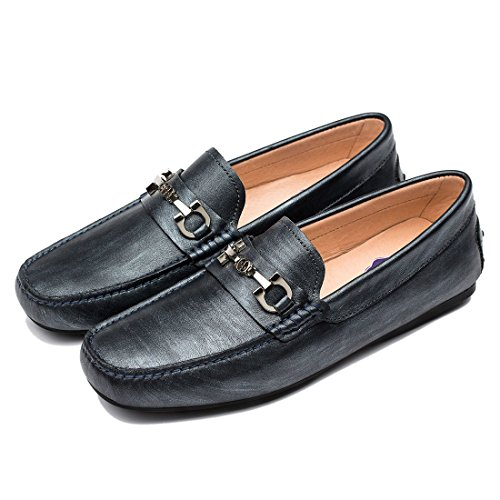 OPP Designer Leather Loafers Men Fashion Flat Oblate Toe Formal Shoes Summer 2016 Grey THu2z