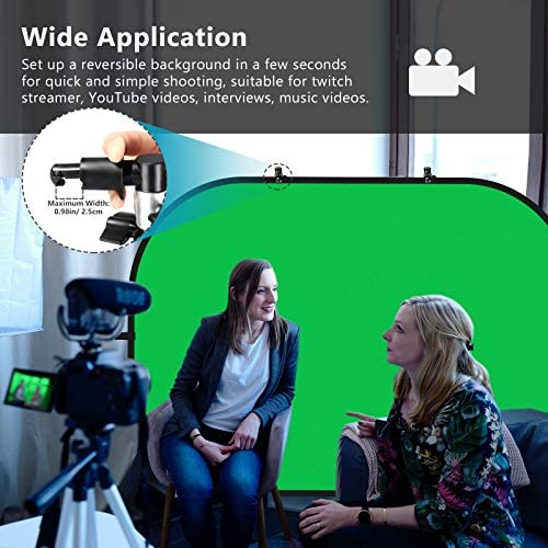 MAUO Portable 5X7 Chromakey Blue and Green 2-in-1 Green Screen Backdrop with Stand Collapsible Chair Green Screen Kit for Video and Zoom