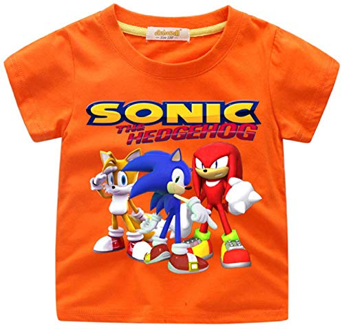 Indepence Life Boys' Sonic The Hedgehog T-Shirt - Featuring Sonic, Tails, and Knuckles Tee for 2-13Years Kids(Orange, -