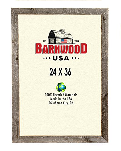 BarnwoodUSA Rustic 24x36 Inch Picture Frame 2 Inch Wide - 100% Reclaimed Wood, Weathered Gray