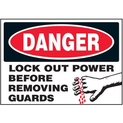 Vinyl Lock-Out Labels - Danger Lock Out Power Before Removing Guards - 5''h x 7''w, White DANGER LOCK OUT POWER BEFORE REMOVING GUARDS (w/graphics) - Super-Stik Adhesive