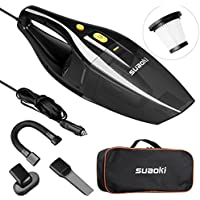 SUAOKI Car Vacuum DC 12V 120W 4000Pa Powerful Suction Wet Dry Portable Handheld Auto Vacuum Cleaner Car 16.4FT(5M) Power Cord, 2 HEPA Filters, Carrying Bag (Black)