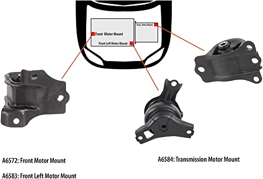 Engine Motor /& Auto Transmission Mount Kit Set of 4 NEW for 98-02 Accord 2.3L