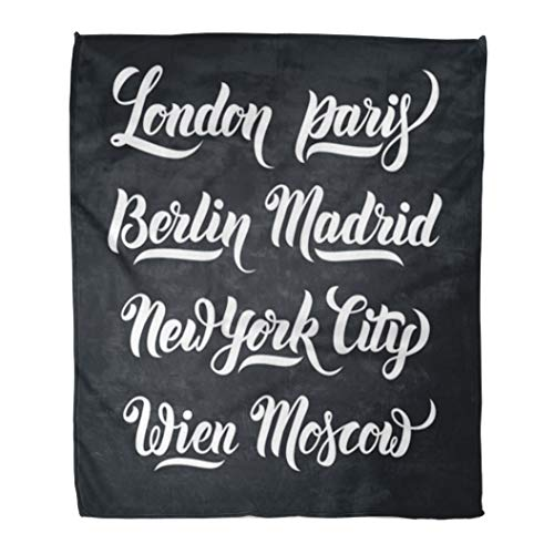 Emvency Throw Blanket Warm Cozy Print Flannel Different City Names Hand Lettering Collection London Paris Berlin Madrid New Comfortable Soft for Bed Sofa and Couch 60x80 Inches