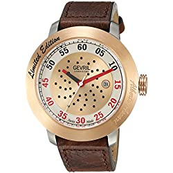 Gevril Men's 'Alberto Ascari' Swiss Automatic Stainless Steel and Leather Casual Watch, Color:Brown (Model: 1101)