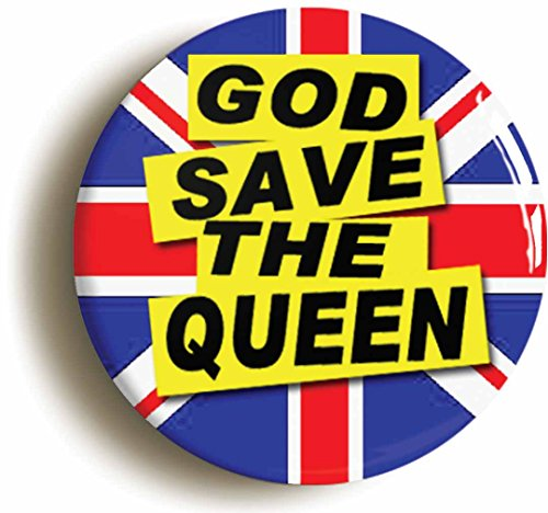 God Save The Queen Punk Button Pin (Size is 1inch Diameter) Seventies 1970s -