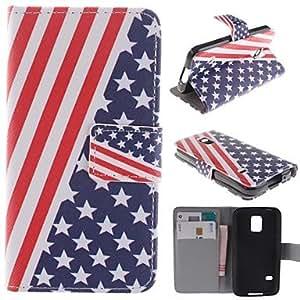 YULIN el diseño de la bandera americana de la PU cuero caso de cuerpo completo con soporte y ranura de la tarjeta para el mini G800 samsung galaxy s5