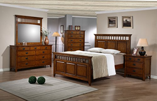 Sunset Trading SS-TR900-Q-BED-SET Tremont Bedroom Set, Warm Chestnut with Satin Gloss Finish