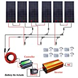 900W 24V off Grid Solar System kit 6x150W Solar Panel + 1500W 24V Pure Sine Inverter