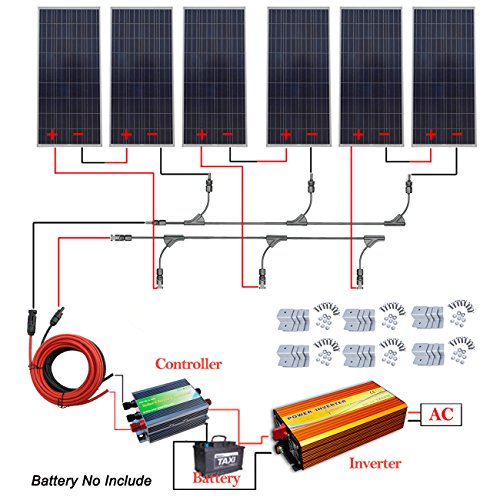900W 24V off Grid Solar System kit 6x150W Solar Panel + 1500W 24V Pure Sine Inverter by ECO LLC