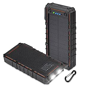 Hobest Solar Charger with Led Flashlight,Waterproof 12000mAh Solar Battery Charger with Dual USB, 2.1A Output Max Portable Phone Charger External Battery Pack Power Bank for Outdoors