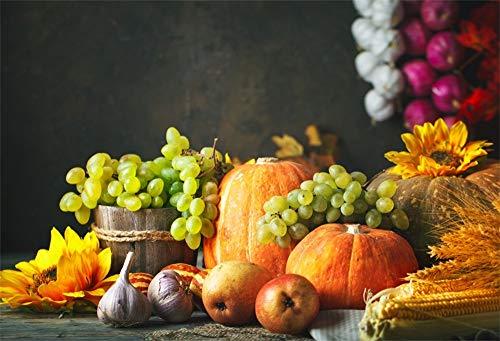 AOFOTO 7x5ft Fall Harvest Backdrop Autumn Farm Barrel Garlic Apples Grapes Pumpkins Corns Sunflower Gain Scene Photography Background Cloth Vinyl Wallpaper Thanksgiving Photo Studio Props