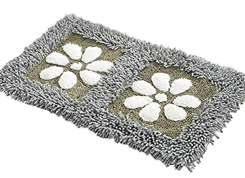 ZebraSmile Washable Floral Chenille Heavy Bath Rug Home Entrance Door Mat Entry Doormat Entryway Door Carpet for Bedroom Indoor Mat Non Slip Back Bath Room Floor Rug,Gray(19.5 X 31.5IN/ 50 X 80 cm)