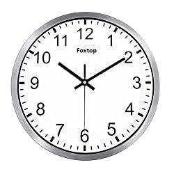 Foxtop Modern Large Decorative Silent Non-ticking Wall Clock with Sweep Quartz Movement - 12 Universal Indoor Outdoor Wall Clocks - Silver Plastic Frame Glass Cover (Stainless Steel)