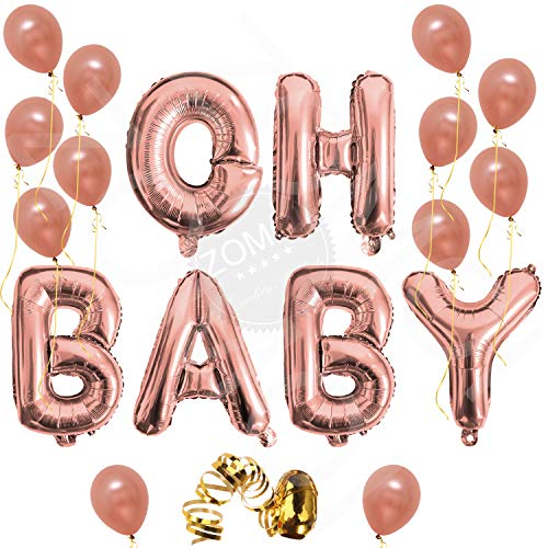 Oh Baby Letter Balloons, Rose Gold Baby Girl/Boy Shower Banner | Baby Shower Party Decorations Backdrop | Gender Reveal Party Balloons | 16 inch, Mylar Foil Letter with 12 Latex ()