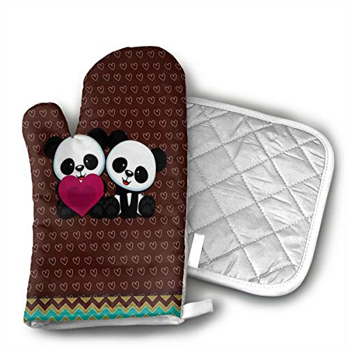 HEPKL Oven Mitts and Potholders Panda Bear Wallpaper Non-Slip Grip Heat Resistant Oven Gloves BBQ Cooking Baking Grilling]()