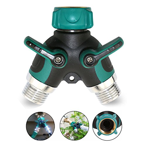 """GOSTAR Y Shape Garden Hose Splitter 2 Way Connector 3/4"""" With Valve Hose Connector Zinc Alloy Fit With Outdoor Faucet With 4 Washers by GOSTAR (Image #4)"""