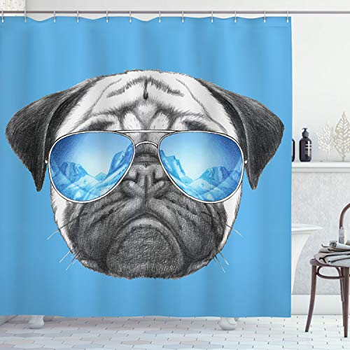 Ambesonne Pug Shower Curtain, Pug Portrait with Mirror Sunglasses Hand Drawn Illustration -