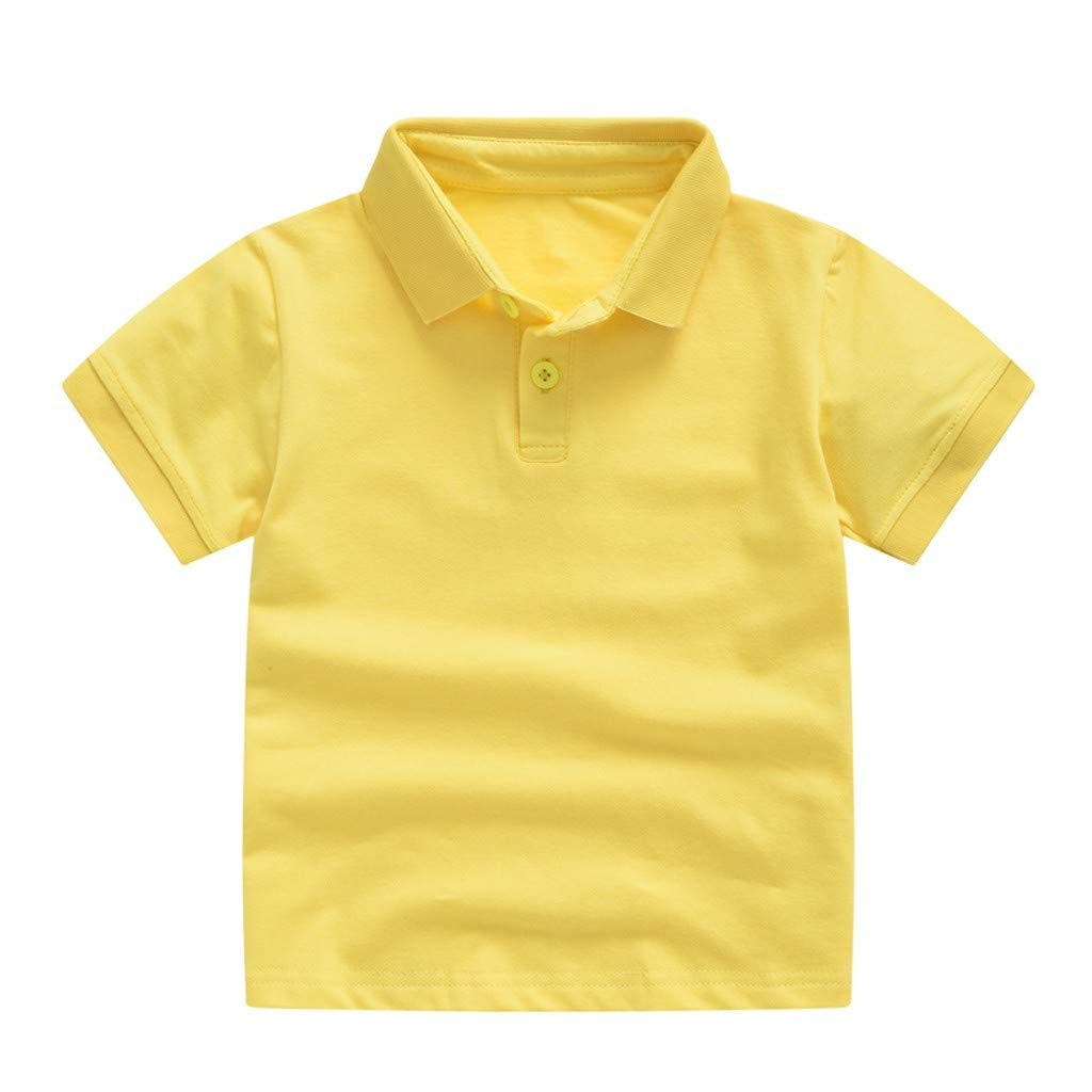 Girls Clothes Lapel Button Short Sleeve Solid T-Shirt Tee Summer Tops for Toddler Kids Baby