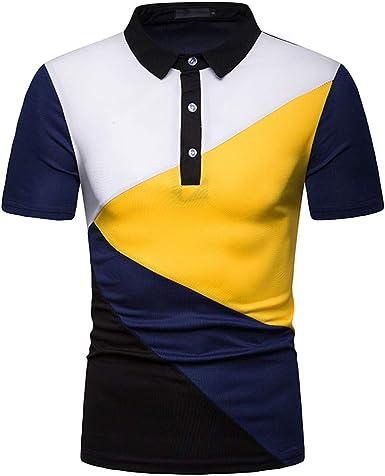 SHJIRsei Camiseta para Hombre, Camiseta de Manga Corta Diseño de Botones Verano, Camisa de Manga Corta de Solapa Moda, Remiendo Camiseta Casual, Hombre Fácil Manga Corta Blusa Casual Top: Amazon.es: Ropa y
