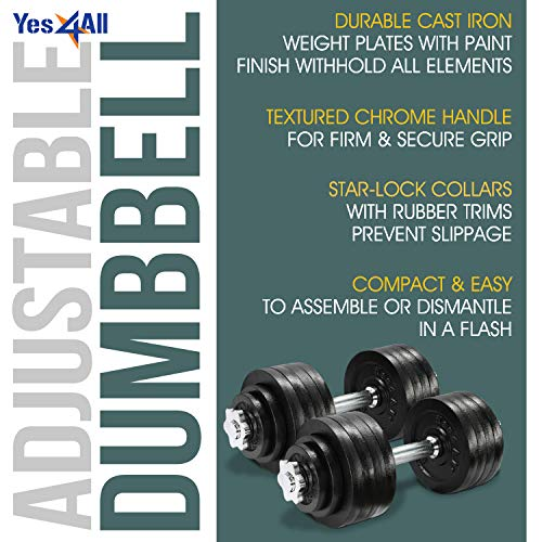 Yes4All 105 lbs Adjustable Cast Iron Dumbbells - ²DWP2Z by Yes4All (Image #3)