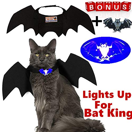 Crazy Pumpkin 2018 Newest Halloween Pet Bat Wings Cat Dog Bat Costume Cool Bat Wings Cosplay Costume Accessory Halloween Holiday Theme Party Pet Apparel