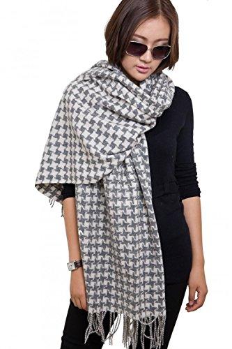 28'' x 78'' Womens Warm Wool Houndstooth Scarf Pashmina Shawl Plaid Muffler Wrap with Gift Box - Plaid Muffler Scarf