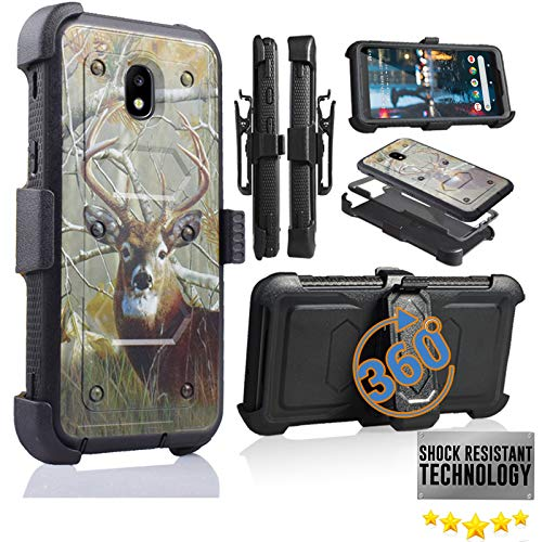 (Compatible for Samsung Galaxy J7 2018 Refine, Crown, Aura, Aero, J7 Top SM- J737 Full Body Armor Rugged Holster Defender Hybrid Camo Case with 360 Belt Clip & Built in Screen Protector (BIG BUCK CAMO))