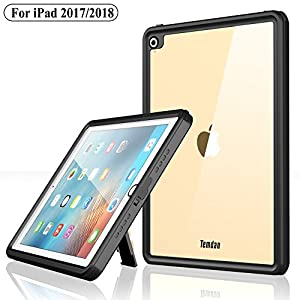 Temdan iPad 2017/iPad 2018 Waterproof Case Rugged Sleek Transparent Cover with Built in Screen Protector Waterproof Case for Apple iPad 2017/2018 9.7 inch (Black)