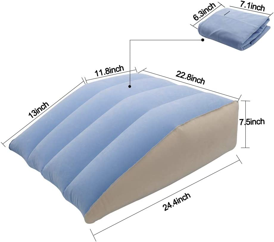 Travel Trip Inflatable Leg Wedge Pillows for Elevation,QDH Lightweight Leg Elevation Pillow with Velour Surface and Quick Inflate//Deflate Valve Leg Rest Foot Pillow for Post-Surgery Pain Relief