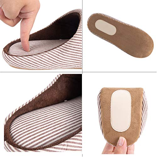 Foam Memory Shoes KRIMUS Clog Plush Women's Use Fleece Slip Indoor House amp; Slippers Brown on Lining Men's Outdoor Striped w0HwYq