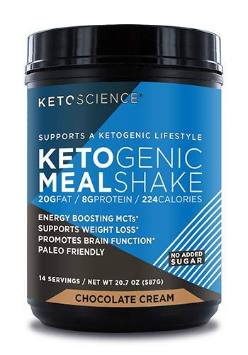 Keto Science Ketogenic Meal Shake Chocolate Dietary Supplement, Rich in MCTs and Protein, Keto and Paleo Friendly, Weight Loss, 20.7oz. (14 servings)