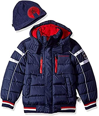 8ff37ee5e Weatherproof Boys' Big Bubble Jacket with Striped Hem Cuffs, Navy ...