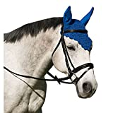 Intrepid International Crochet Fly Veil with Ears Horse Size Scalloped Solid Hunter Green