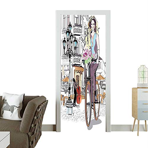 Door Sticker Wall Decals Girl Bike and ROS Street Old Town Musician Romantic Tour in City Easy to Peel and StickW32 x H80 INCH
