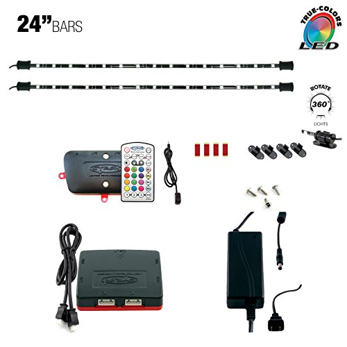 Cyron RGB LED Under Counter Cabinet Dimmable Multicolor Light TV Kitchen Accent Lighting Kit, Advanced Series Controller, 360 Degrees Rotatable, ETL Listed, 2 x 24 Inch LED Light Bars