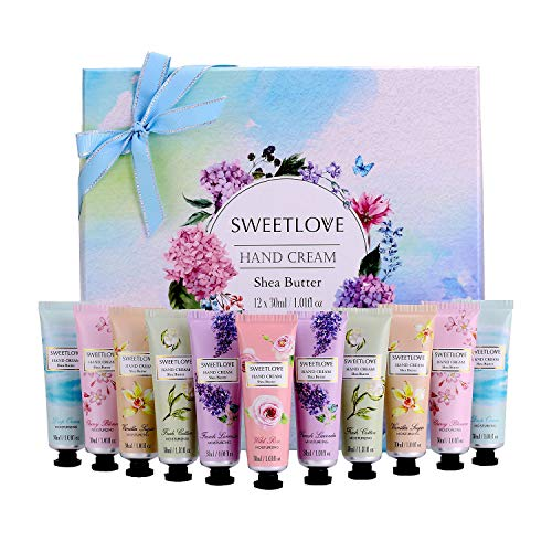 - Hand Cream Gift Set, 12pc x 1floz Travel Size Hand Cream with Shea Butter, Natural Aloe, Vitamin E, Moisturizing for Dry Hand and Foot, Best Gift for Women, Mother's Day, Birthday, Christmas.