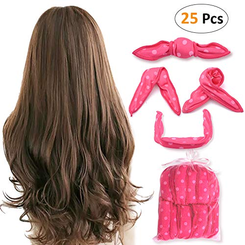 Besego 25pcs Hair Rollers, Night Sleep Foam Hair Curler for Long & Medium Hair, No Heat No Harm, Soft and Flexible Hair DIY Pillow Curlers for Women & Kids, Including a Free Organza Gift Bag(Pink) (Night Rollers)