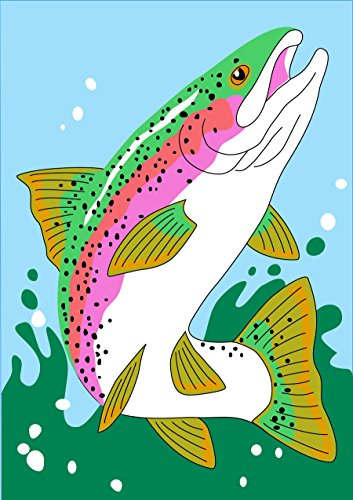 Trout Jumping Out of Water 42 x 29 Rectangular Double Applique Large House Flag - Jumping Trout